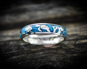 Sterling silver Ocean ring w/ Dolphins & turtles with Turquoise Size~5.5 thru 15
