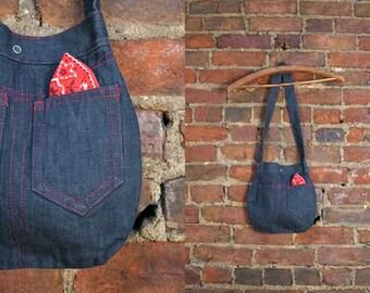 Vintage 70s  Denim Embroidered Novelty Bag Kitsch Jean Purse Shoulder Bag