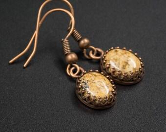 Picture jasper earrings and Picture jasper copper handmade semiprecious stone earrings gemstone natural jasper earrings, jasper jewelry