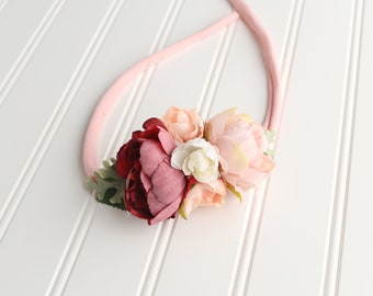 Vintage Love - darling floral crown tieback in blush, dusty mauve, wine, pink and ivory off white   (RTS)