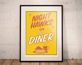 Night Hawks at the Diner. Tom Waits & Edward Hopper Print.