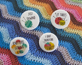 Knitting Badge Set - Set of 4 - Knitting Gift Idea - Knitting Badge - Knitting Buttons - Knitting Humour - Knitting Pin - Pin Badge