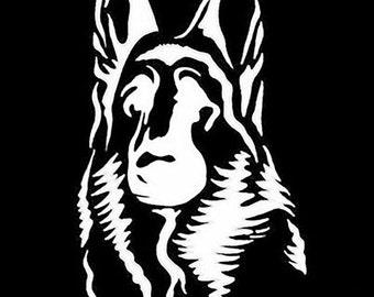 Tribal German Shepherd - German Shepherd Vinyl Decal - German Shepherd Decal