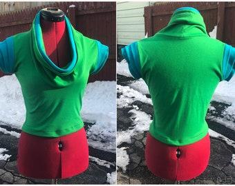 LS-SEVEN// Green/Turquiose Cowl Neck Top. Size Small/Medium. Futuristic Shirt.