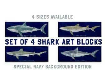 Fathers Day Gift, Shark Decor for Kids, Wall Decor, Gift for Him Fishing, Shark Wall Art, Shark Prints, 4 Shark Art Blocks, Shark Nursery