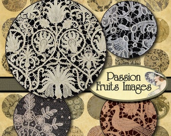 1 inch Lace Rounds Digital Collage Sheet-- Instant Download