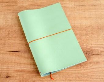 Handmade Leather Traveler's Notebook, Midori style in Regular/Wide size - Seafoam