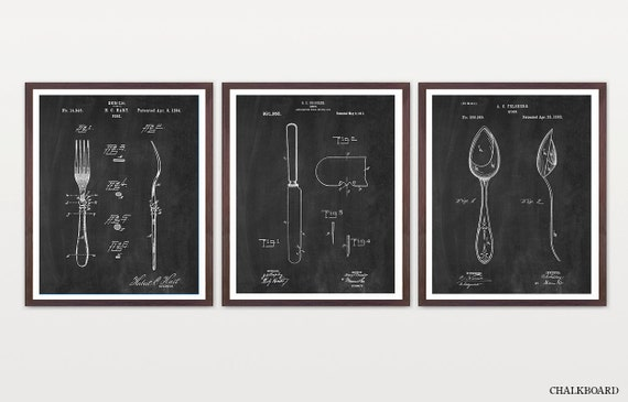 Silverware Patent Set - Cutlery Patent - Table Setting - Fork Patent - Knife Patent - Spoon Patent - Dining Room Patent - Kitchen Art