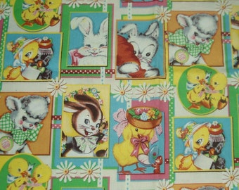 Adorable Easter Sewing Quilting Cotton Fabric Colorful Bunnies Chicks Lamb 44 x 33 Inches