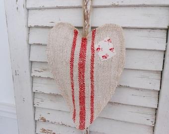 Grain sack heart sachet, lavender heart sachet with patch
