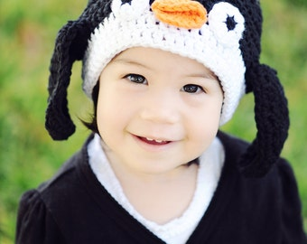 CROCHET Hat PATTERN - Penguin Beanie - ALL sizes included from preemies to adults - Easy - pdf