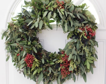 Seeded Eucalyptus Pepperberry Wreath- 20inches ~~~~~~~home decor, holiday decor, wedding/shower decor, housewarming gift, mother's day gift