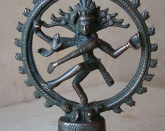 "Antique/Vintage Copper/Brass/Bronze Handmade Shiva Dancing Hindu God Figurine 5 1/2""Tall"