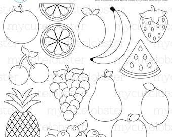 Fruit Digital Stamps - food line art, outlines, stamps, lemon, pineapple, watermelon - personal use, small commercial use, instant download