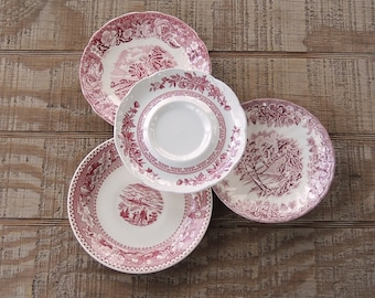Mismatched Pink White Transferware Plates Set of 4 Saucers Replacement China
