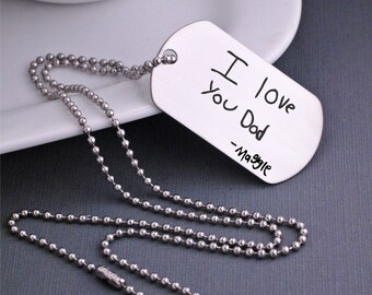 Custom Handwriting Necklace, Father's Day Gift for Dad, Dog Tag Necklace for Dad Custom Necklace