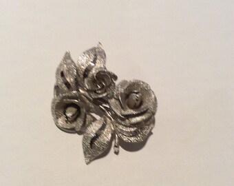 Vintage Silver Tone Rose Brooch