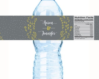 Wedding Water Bottle Labels, Personalized Water Bottle Labels, Waterproof Label, Bridal Shower Labels, Welcome Bags, Floral Wedding Labels