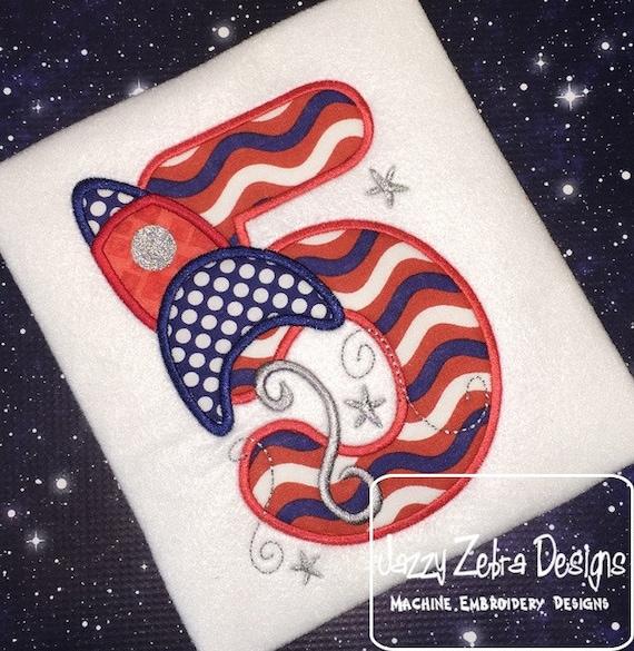 Rocket Ship Five Appliqué Embroidery Design - 5th birthday appliqué design - fifth birthday appliqué design - birthday appliqué design