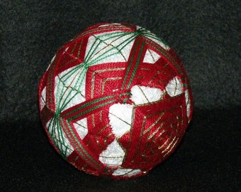 "Large 5-1/2"" diameter ""Square Within A Square"" Japanese Temari Ball-Japanese String Art-String Ball-Home Decor-Embroidery design-OFG Team"