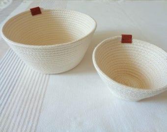 Rope Bowl Set of 2, Storage Cotton Basket, Naturl Cotton Bowl, Coiled Storage Bowl,  Eco Friendly Vegan Gifts