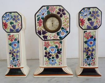 Fireplace decoration, 3 old faience, 2 vases and thermometer pattern flower, vintage decor items, antiques, antiques