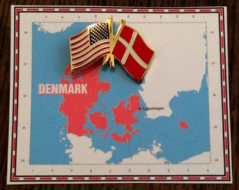 Denmark and US Double Flag Pin / Tie Tack / Lapel Pin / Friendship Flag Pin