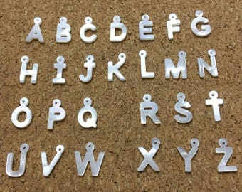 Mother of Pearl Letter Charm, Alphabet Charm,Letter Pendants, Shell Jewelry