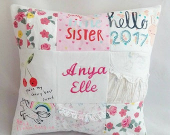 Nursery cushion   Clothes keepsake, First birthday keepsake, Christening keepsake, Personalised cushion, Made from baby clothes, Memory