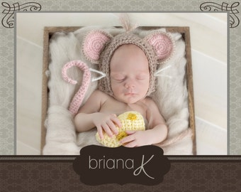 PATTERN Instant Download, Littlest Brown Mouse Newborn