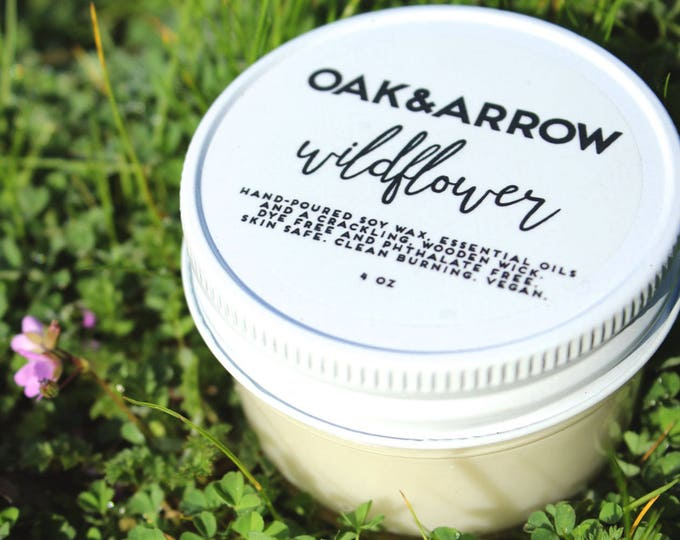 WILDFLOWER//Soy Wax Wood Wick Candle//Hand Poured Soy Candle//4oz