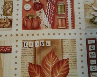 Sewing Themed Fabric 1 panel 12 Images