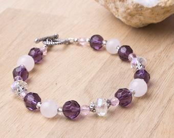 Rose Quartz bracelet - Gemstone and Crystal beaded bracelet | Quartz jewellery | Pink jewelry | Purple bead bracelet | Pretty bling