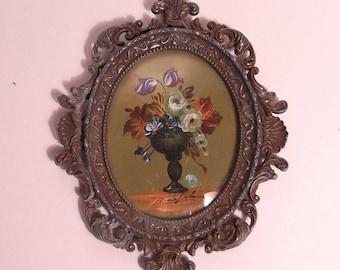 handpainted miniature painting, oil on panel, signed, 19th century