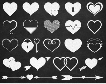Chalkboard Hearts Clipart Valentine Clipart Hearts Clip Art Heart Silhouette Scrapbooking Heart Icons Invitations Wedding Icons