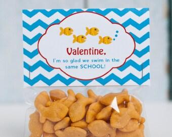 Custom Printable Goldfish Kids Valentine Treat Bag Topper