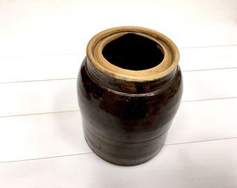 Antique primitif en terre cuite marron pot pâte rustique