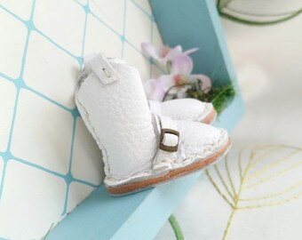 Mini White Leather Boots Neo Blythe Azone Pureneemo M S Dolls Hand Made By MizuSGarden