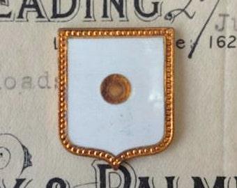 Antique Copper White Enameled Heraldic Shields Crest Finding DIY Jewelry Supplies Art Deco Plaque Set of 2