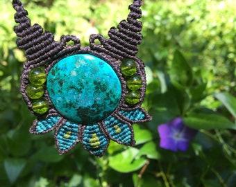 Chrysocolla & Perodite Flower Macrame Pendant Adjustable Necklace