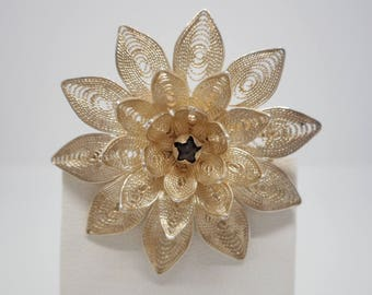 Antique Victorian Sterling Silver Flower Pin Brooch .925