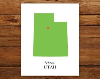 Utah State Love Map Silhouette 8x10 Print - Customized