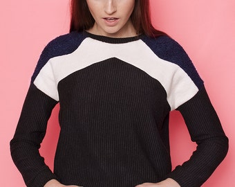 Geometric handmade sweatshirt. Minimal style