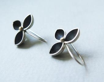 modern silver earrings, silver leaf earrings, contemporary earrings, silver statement earrings, avant garde jewelry, nature inspired jewelry
