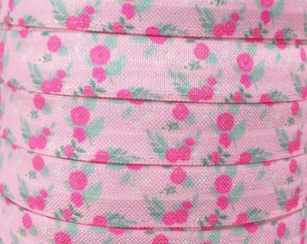 "Pink Floral 5/8"" Fold Over Elastic 1, 3 or 5 yards"