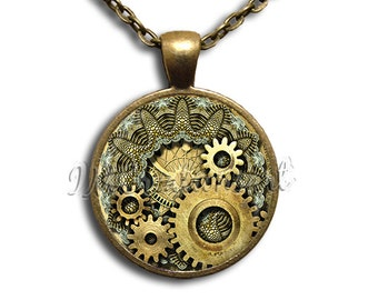 Golden Steampunk Gears Glass Dome Pendant or with Chain Link Necklace SM104