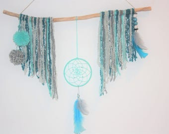 """Table wall """"Driftwood & dream catcher"""" grey turquoise"""