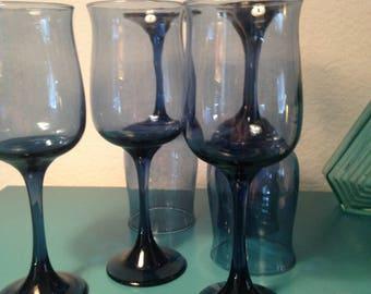 Set of 6 cobalt wine glasses