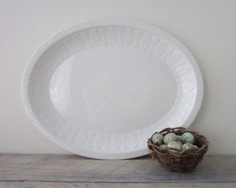 Vintage Ironstone China Oval Platter Pontesa Spain Leaf Pattern