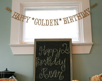 Ships Priority Mail.  HAPPY GOLDEN BIRTHDAY Banner.  5280 Bliss.  Happy Birthday Banner.  Banner.  Garland.  Antique Gold Shimmer.
